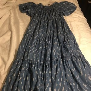 oSo CASUALS S NWT BLUE PRINT DRESS RUSHING NECK